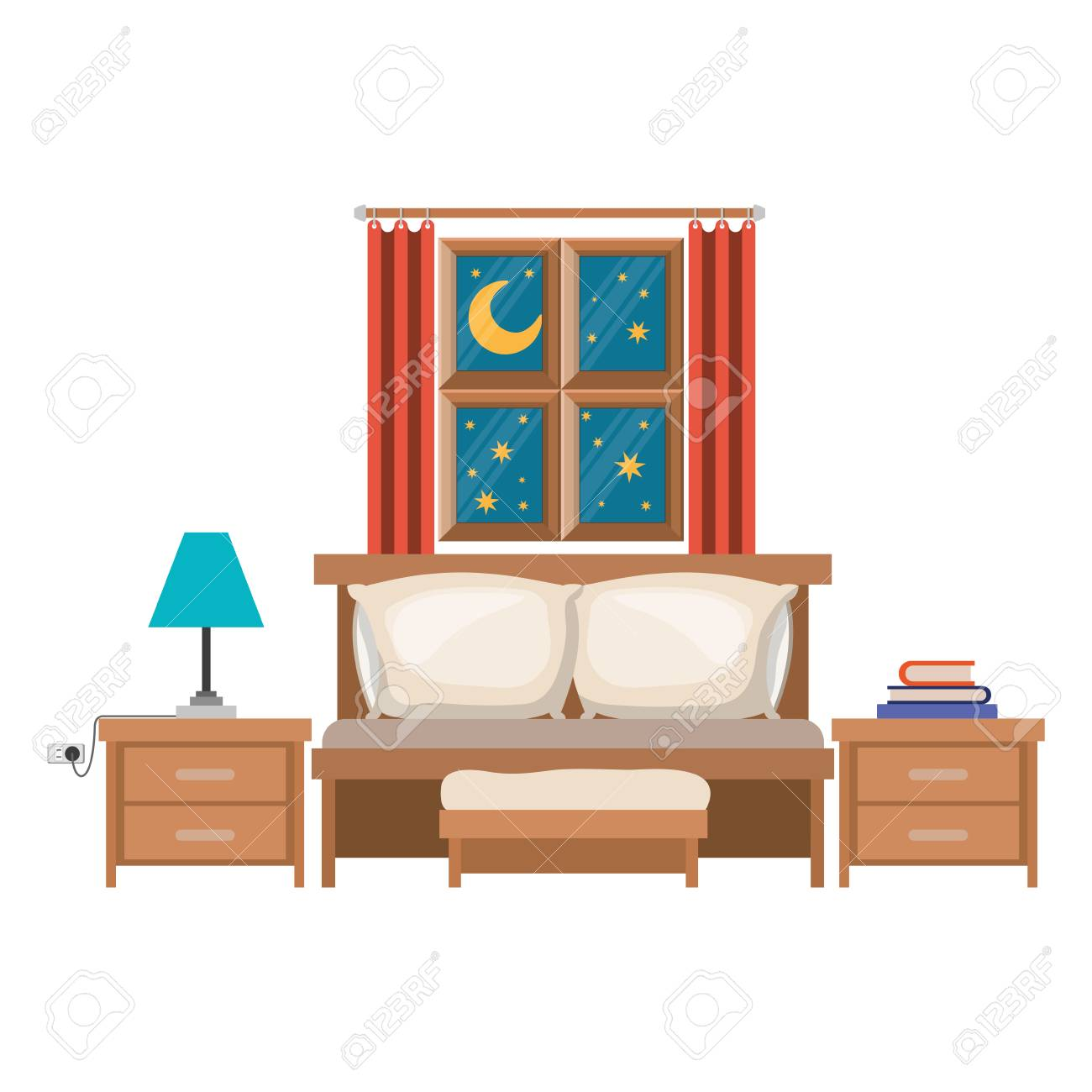 Bedroom With Sofa Bed Window In The Night Landscape In Colorful Silhouette  On White Background Vector