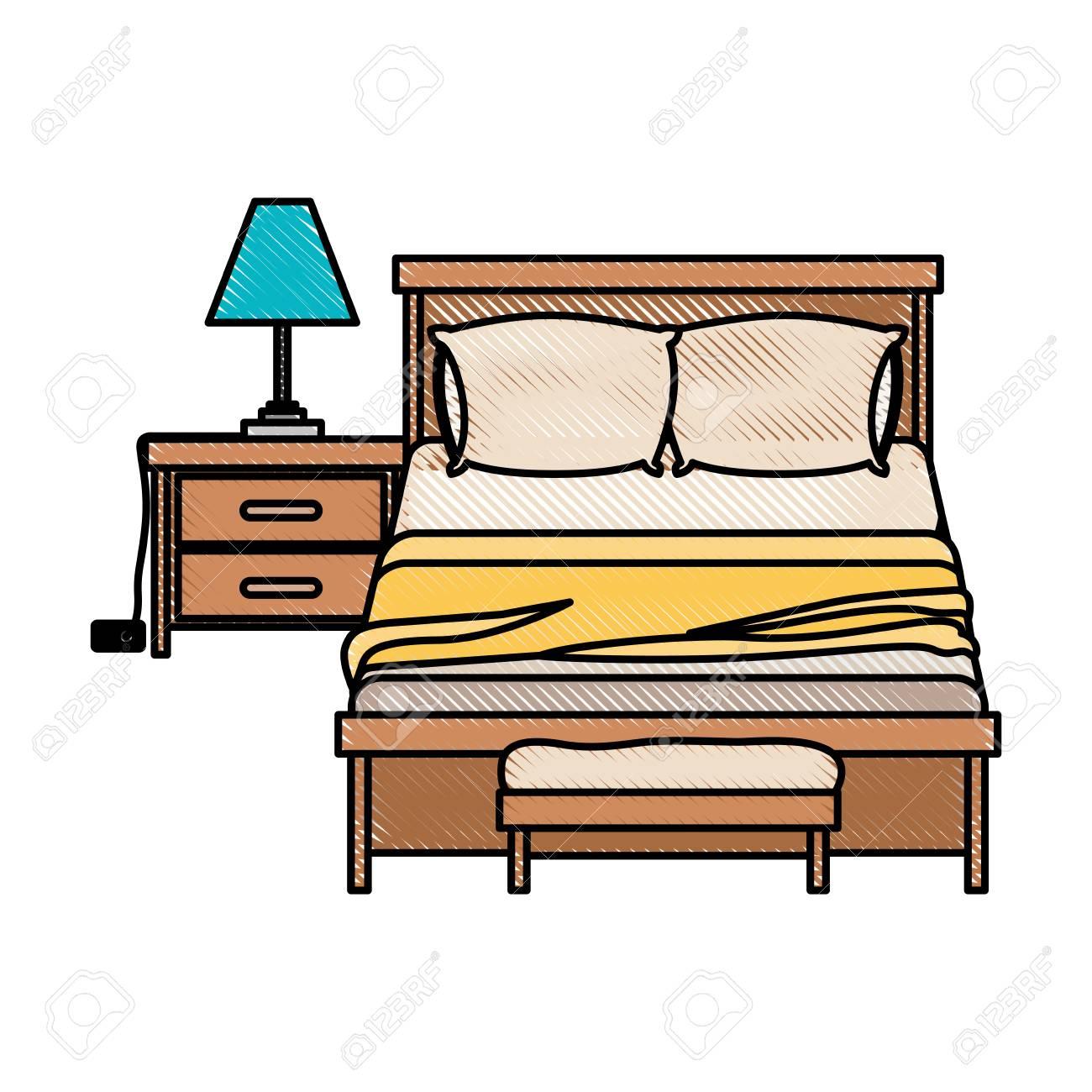 couple silhouette fond lampe coucher Chambre et en couleur chevet sur la de crayon illustration sur table oreillers à de blanc avec vectorielle lFK1Jc