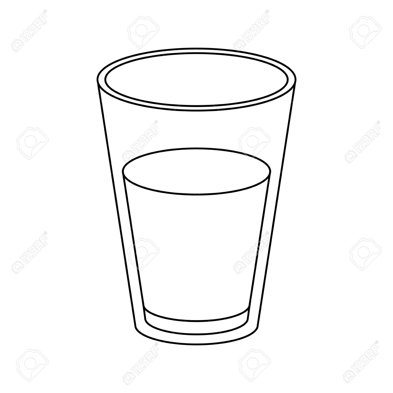 glass of milk sketch silhouette on white background vector