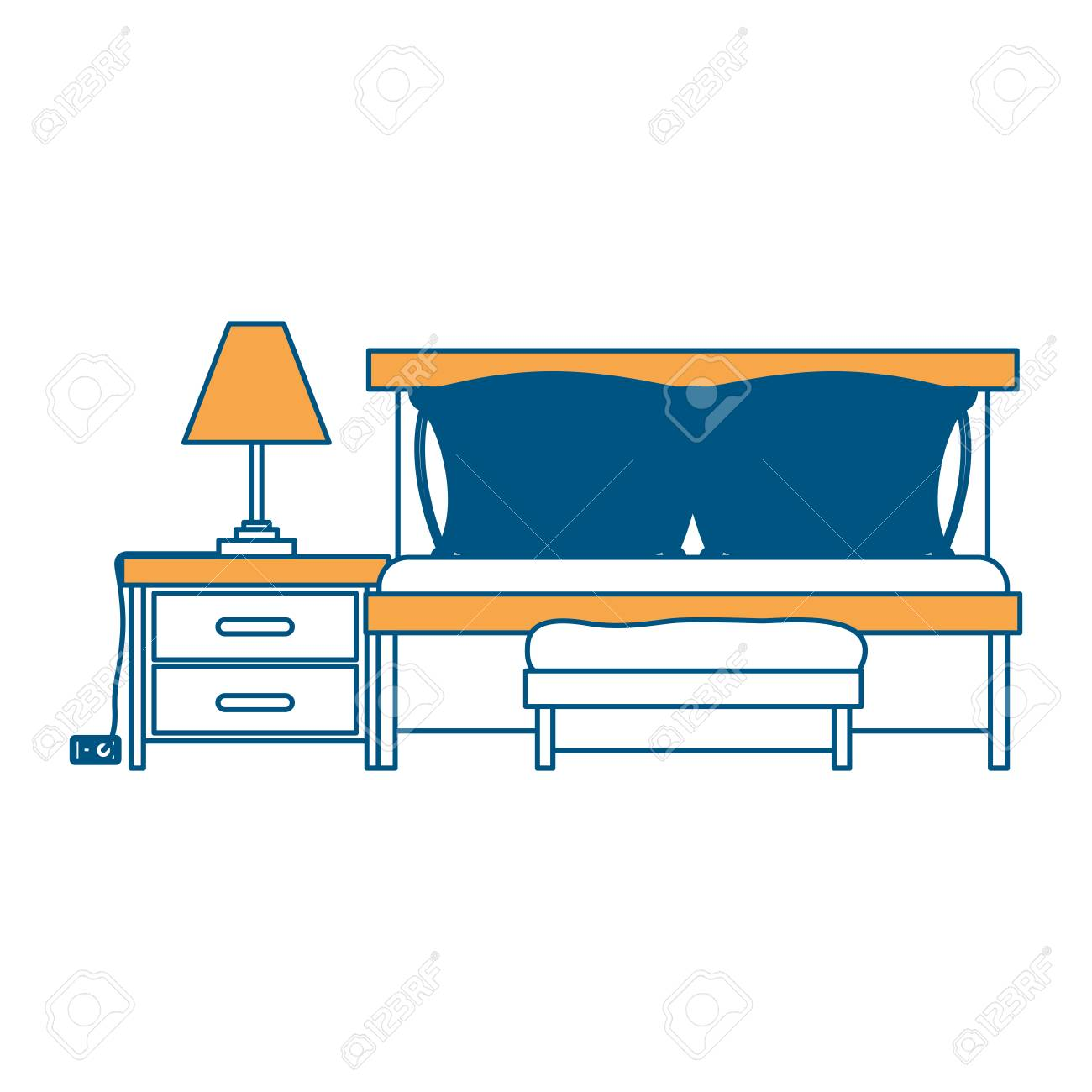 Bedroom With Sofa Bed And Lamp Over Nightstand Color Section Silhouette On  White Background Vector Illustration