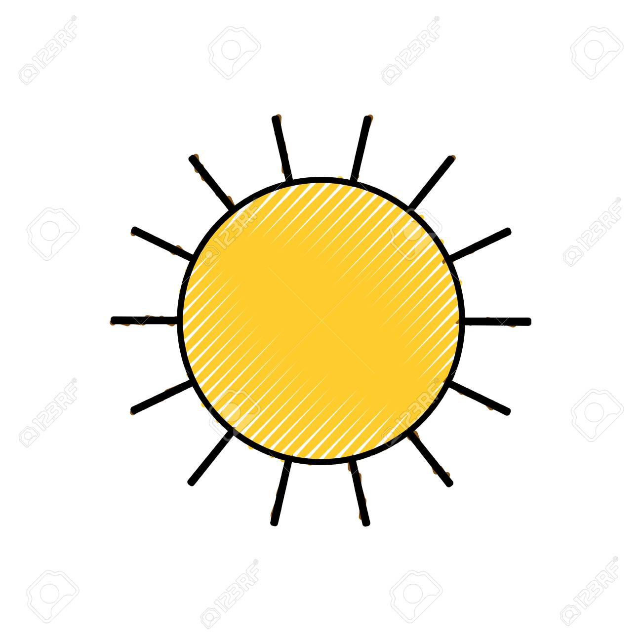sun icon colored crayon silhouette vector illustration royalty free