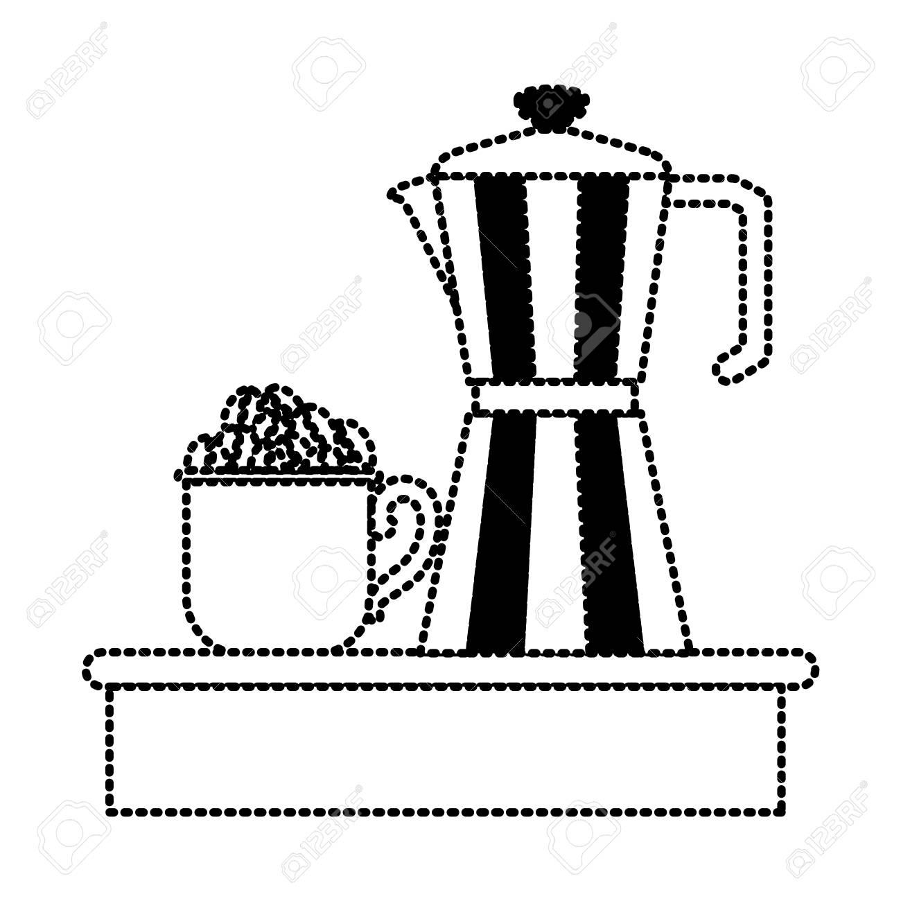 山のコーヒー豆とハンドルのシルエットとコーヒーの金属瓶磁器マグカップ ドット白背景ベクトル イラスト白黒