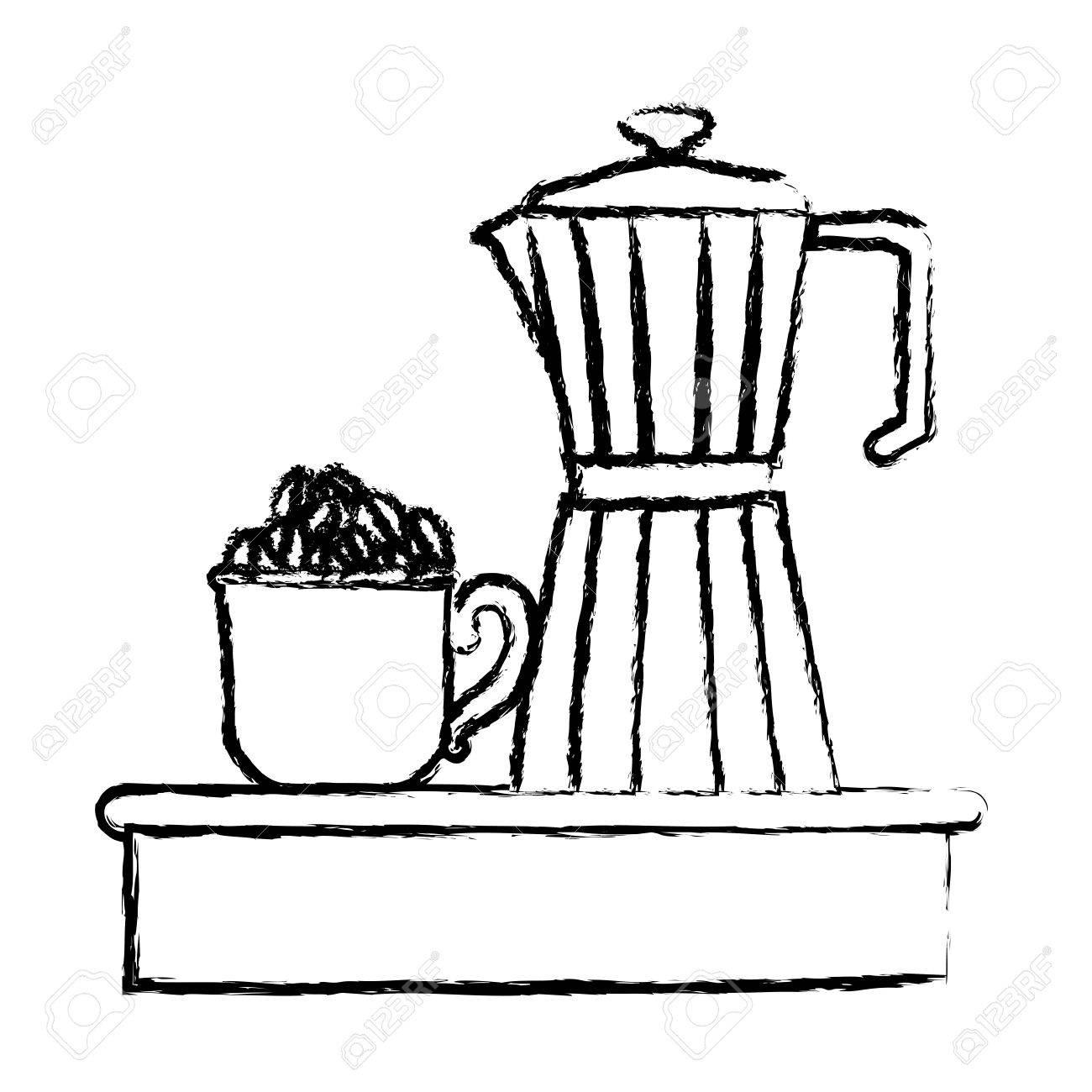 山のコーヒー豆とハンドル モノクロぼやけたシルエット ベクトル図とコーヒーの金属瓶磁器マグカップ