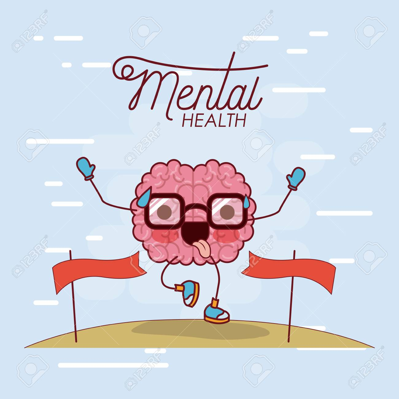 mental health poster of brain cartoon with glasses running and pass finishing line and background light blue vector illustration - 87119394