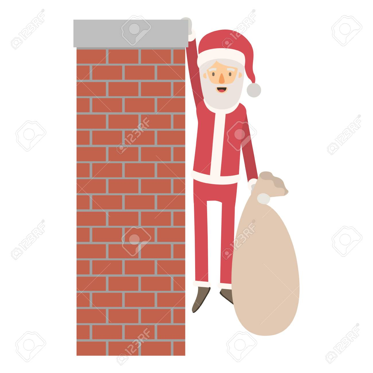 Santa Claus Caricature Full Body Hanging Of Chimney Brick Fireplace
