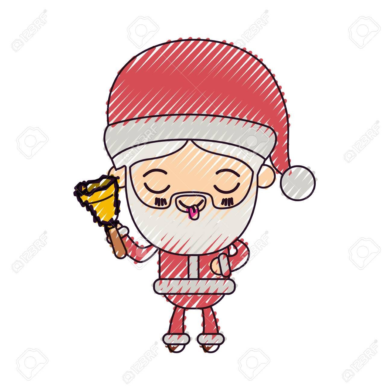 Dessin Animé De Père Noël Tenant La Main Cloche Expression Langue