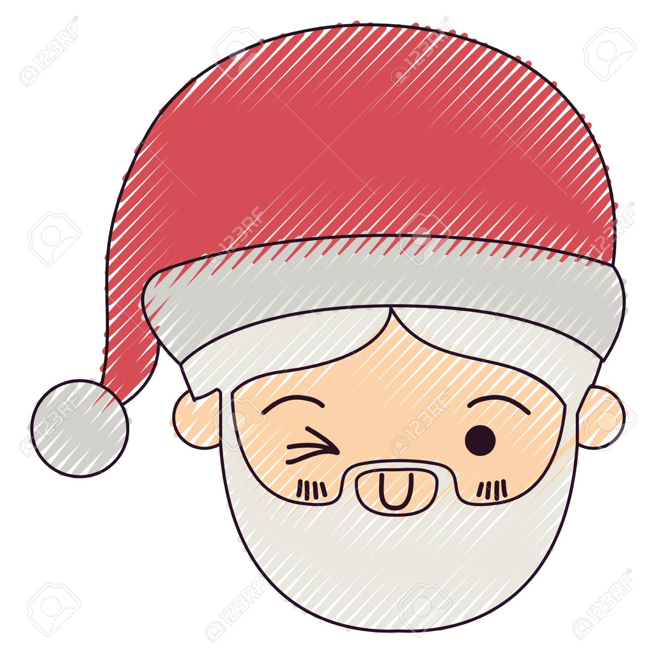 Santa Claus Kawaii Face Wink Eye And Smiling Expression With Royalty Free Cliparts Vectors And Stock Illustration Image 87481418