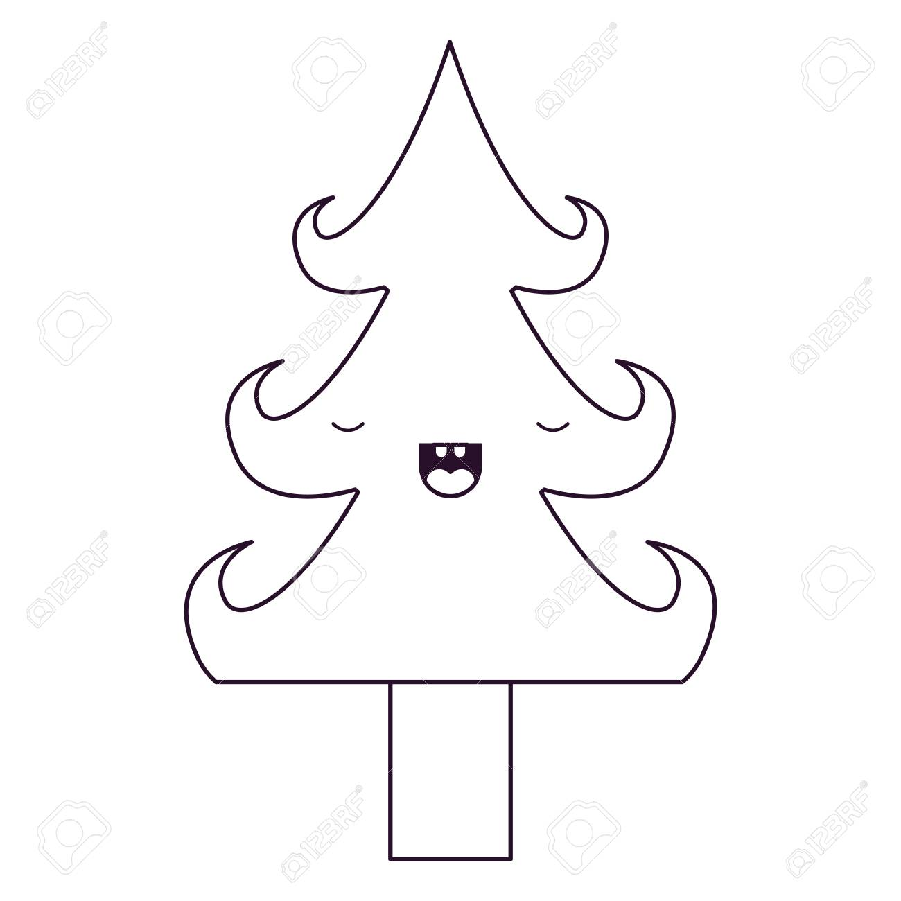 Kawaii Christmas Tree With Trunk With Eyes Closed Happiness ...