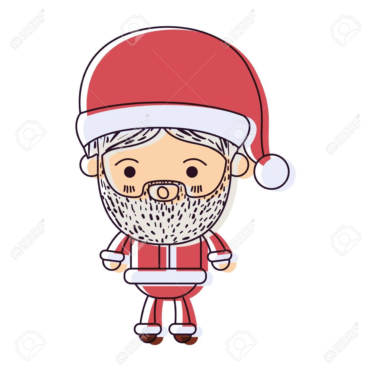 Père Noël Homme Kawaii Corps Entier Dessin Animé Surpris Expression à Chapeau Aquarelle Silhouette Sur Blanc Fond Vecteur Illustration