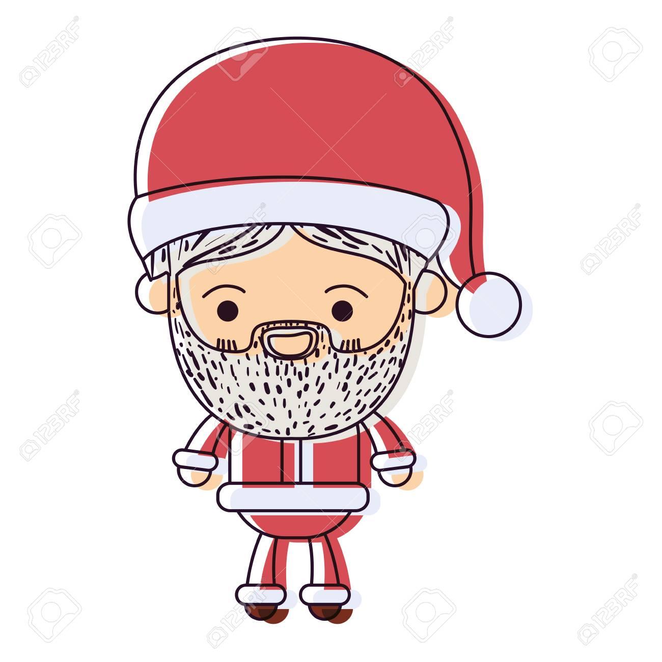 Père Noël Homme Kawaii Corps Entier Dessin Animé Bonheur Expression à Chapeau Aquarelle Silhouette Sur Blanc Fond Vecteur Illustration