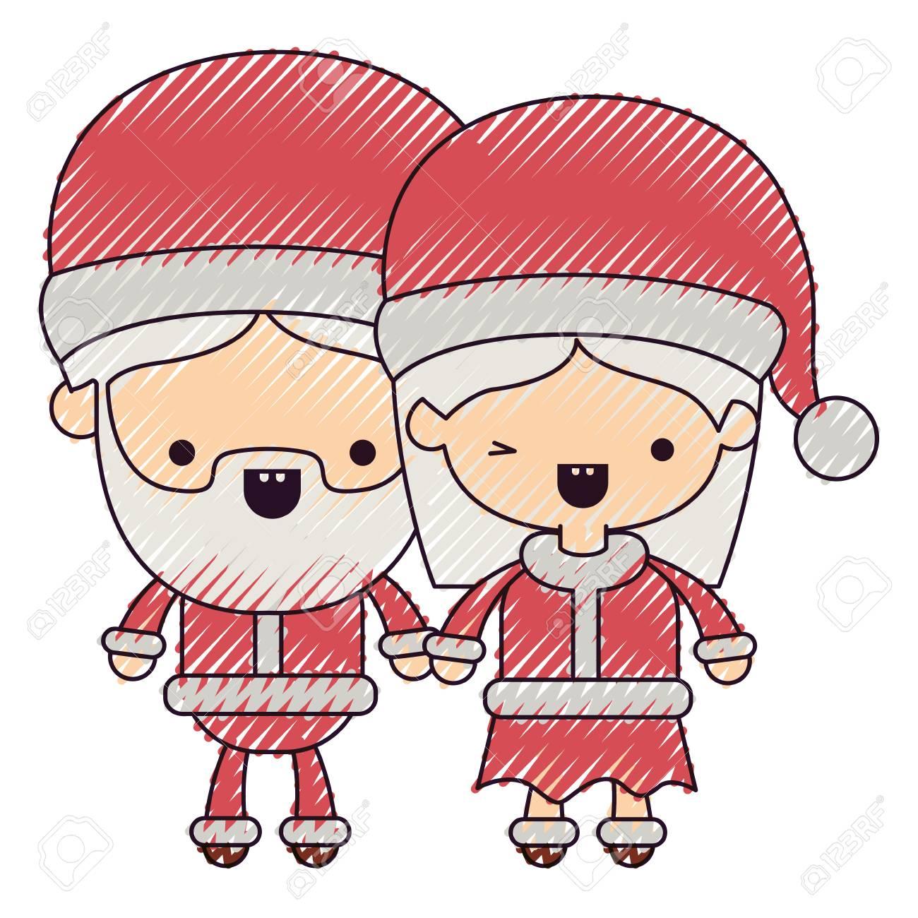 Père Noël Couple Dessin Animé Entiers Corps Homme Femme Sourire Couleur Colorie Silhouette Blanc Fond Vecteur Illustration