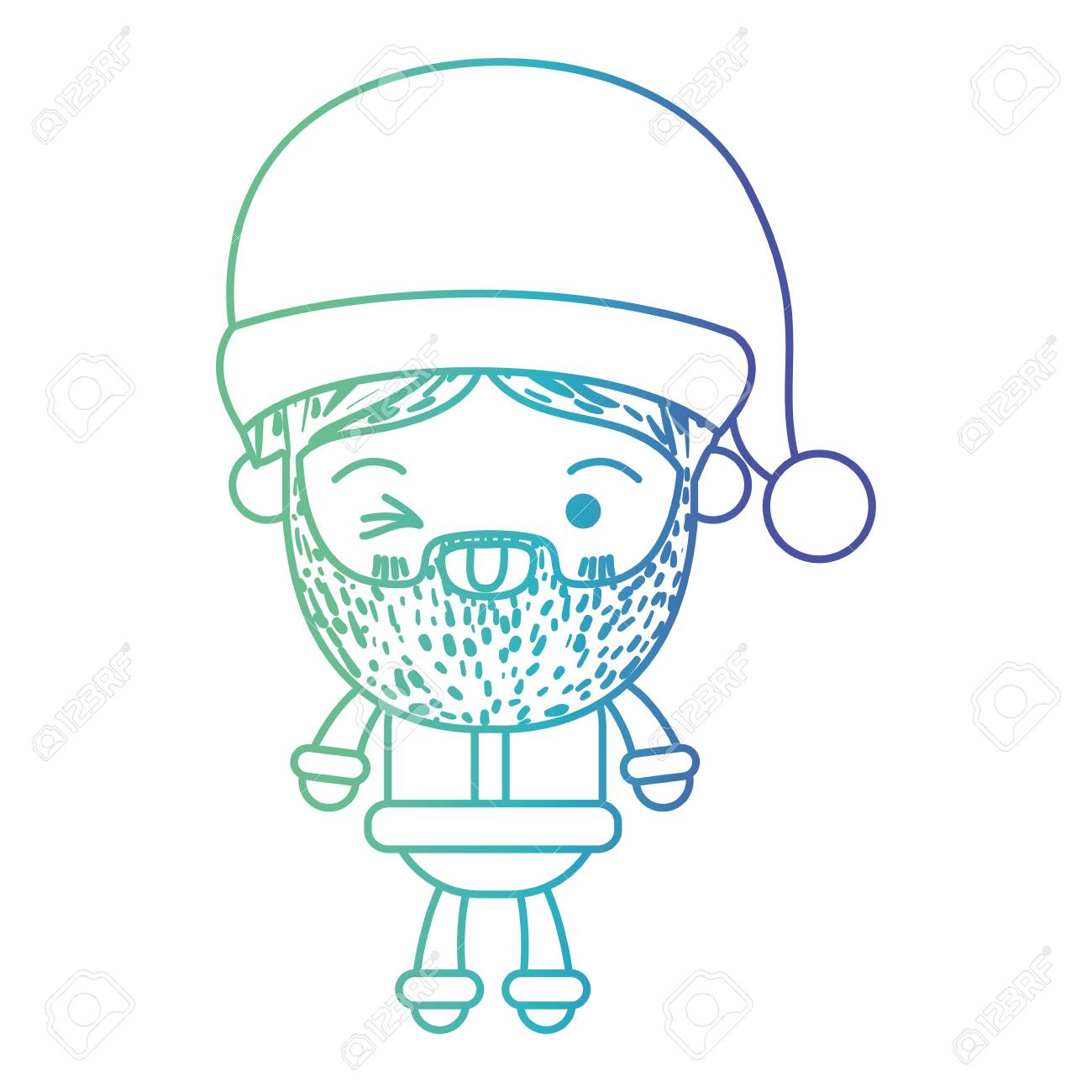 santa claus man kawaii full body cartoon wink eye expression rh 123rf com Man Winking Clip Art Lady Winking Eye Clip Art