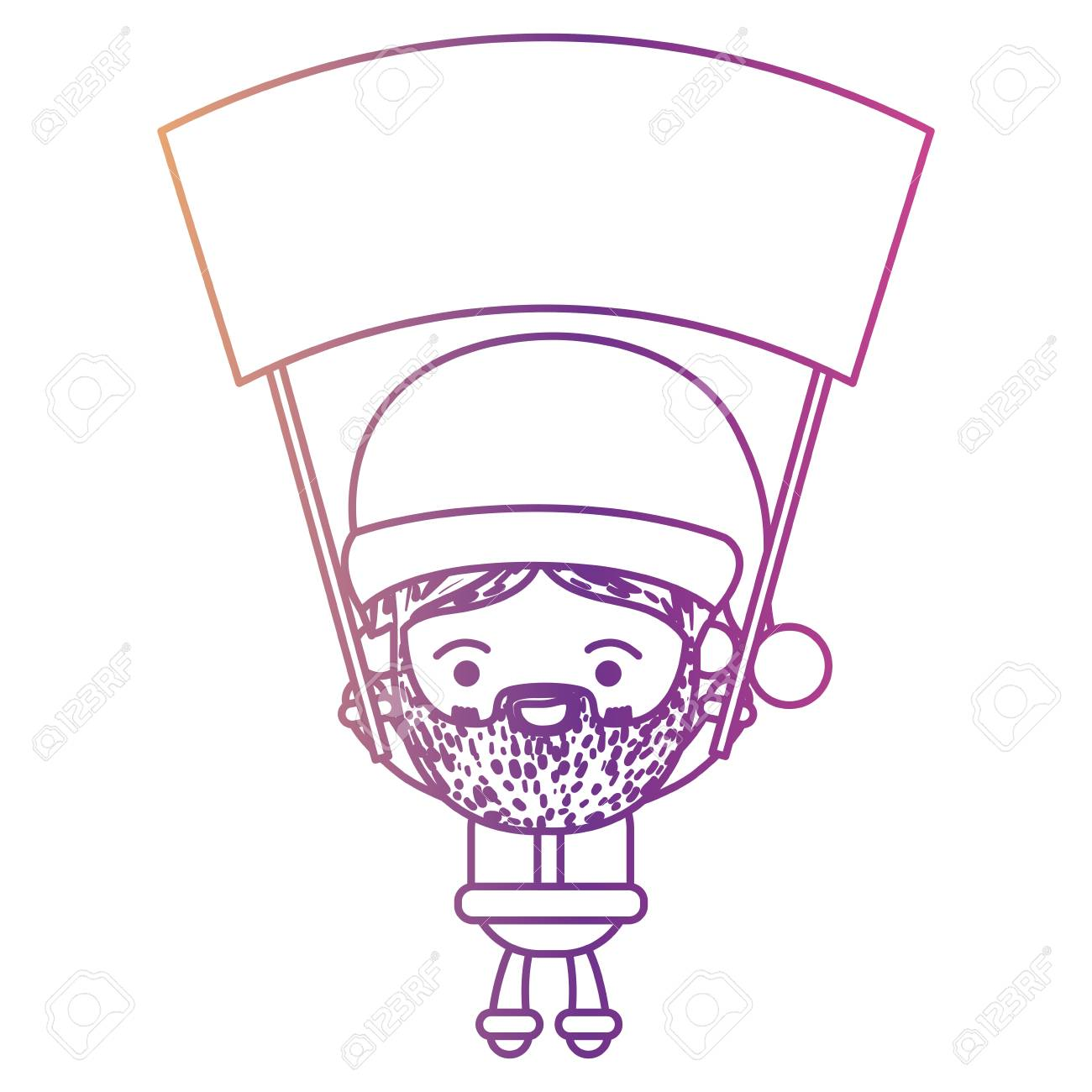 Santa Claus Cartoon Holding Up A Wooden Poster With Face Expression