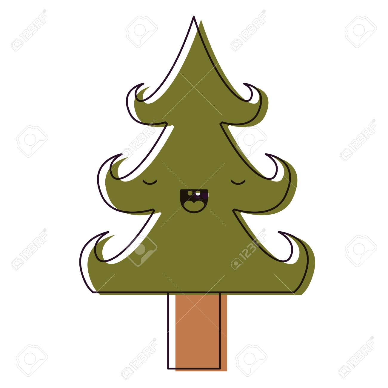 A Cute Christmas Tree With Eyes Closed Happiness Expression On Royalty Free Cliparts Vectors And Stock Illustration Image 87572286 Cartoon christmas tree with city. 123rf com