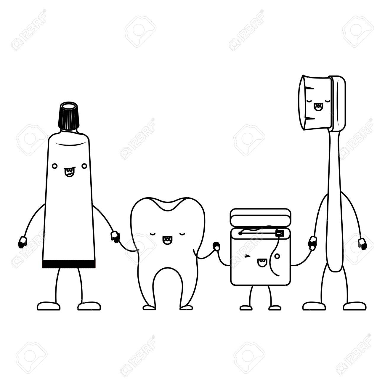 6aa2b961c tooth and toothpaste and dental floss and toothbrush in cartoon holding  hands in monochrome silhouette vector