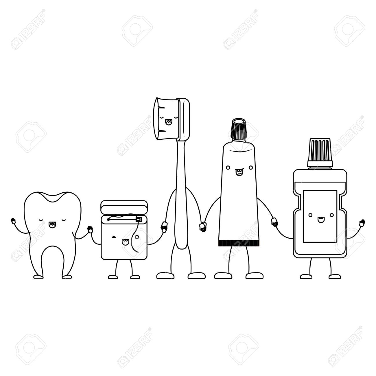 a24f3c85e tooth and dental floss and toothbrush and toothpaste and mouthwash in cartoon  holding hands in monochrome