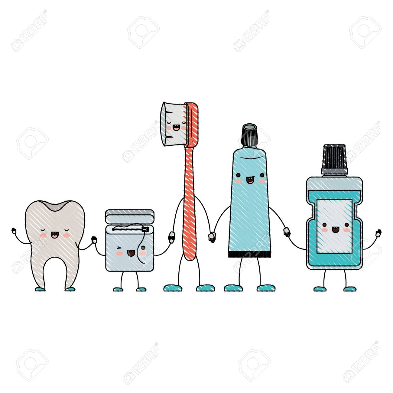 deb7d3e2f tooth and dental floss and toothbrush and toothpaste and mouthwash in cartoon  holding hands in colored