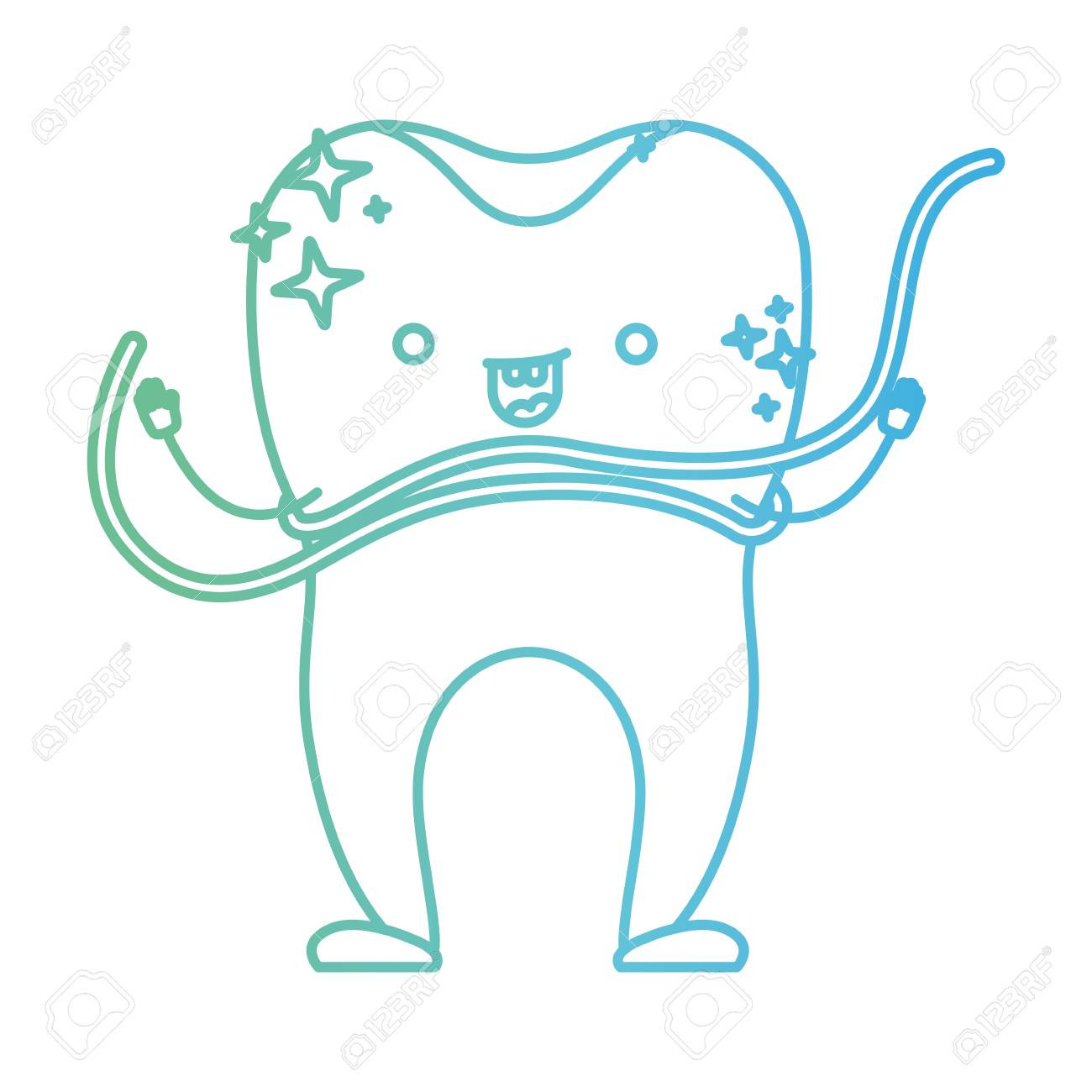Cartoon Tooth With Dental Floss Around In Degraded Green To Blue Color Contour Vector Illustration Stock