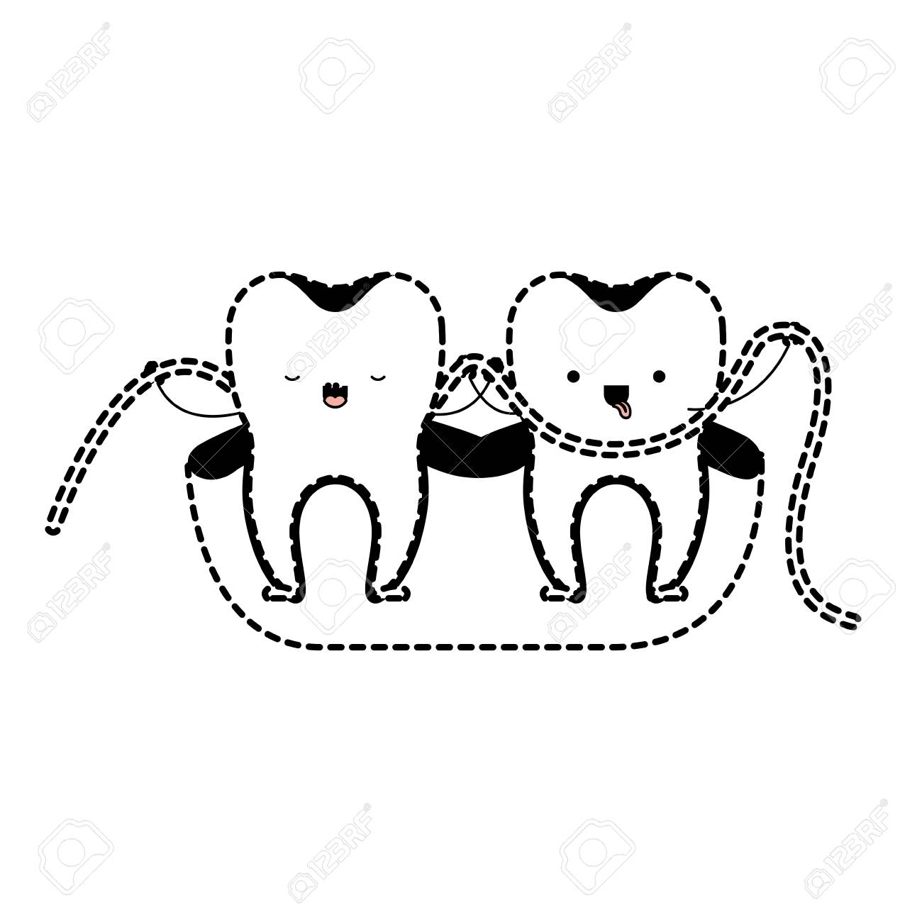 Teeth Cartoon And Dental Floss Between Them Holding Hands In Black Dotted Silhouette Vector Illustration