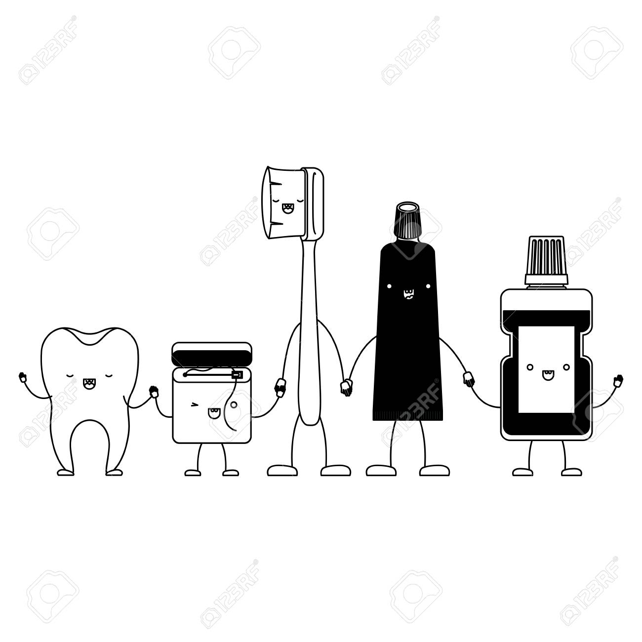 cb07a7ff9 tooth and dental floss and toothbrush and toothpaste and mouthwash in cartoon  holding hands in black