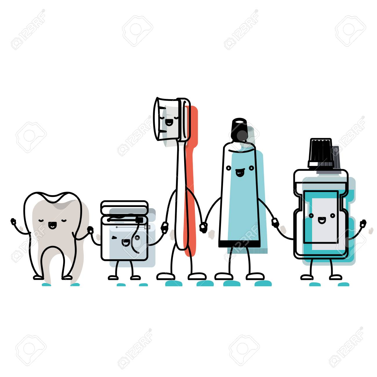 a496ecff9 tooth and dental floss and toothbrush and toothpaste and mouthwash in cartoon  holding hands in watercolor