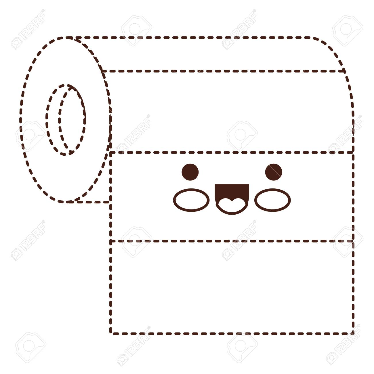roll paper towel in brown dotted silhouette vector illustration