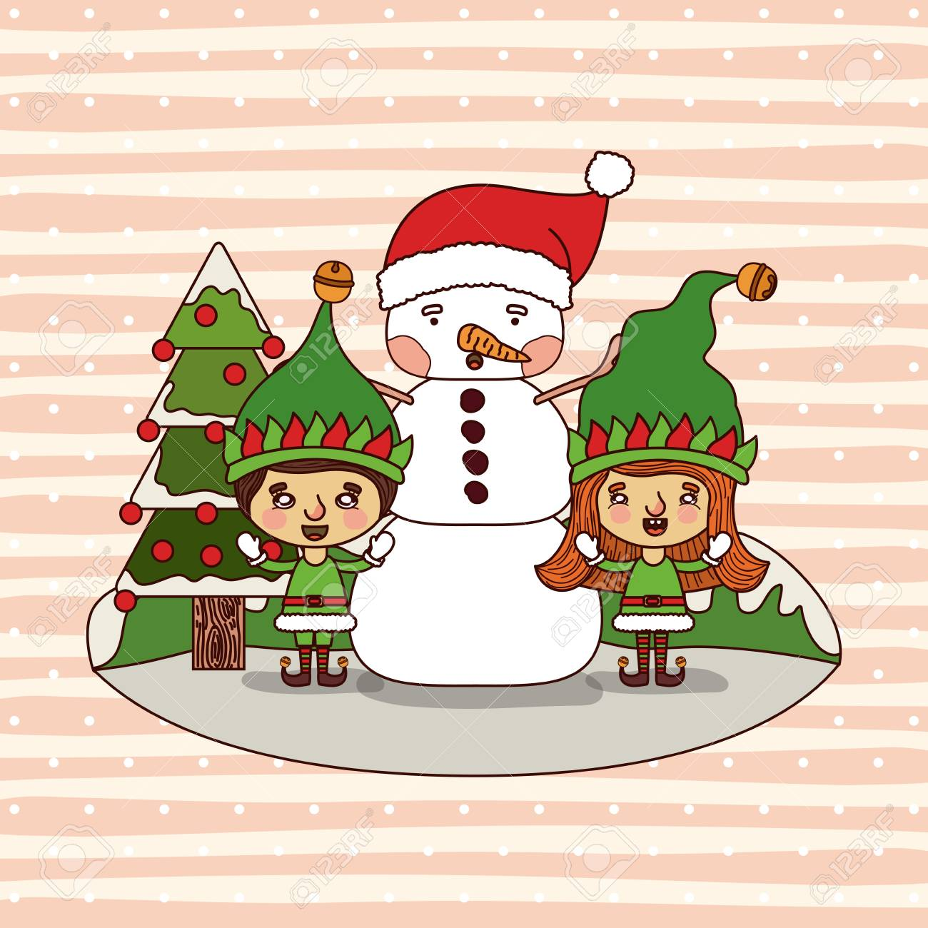 Christmas Card With Christmas Tree And Gnome Kids And Snowman ...