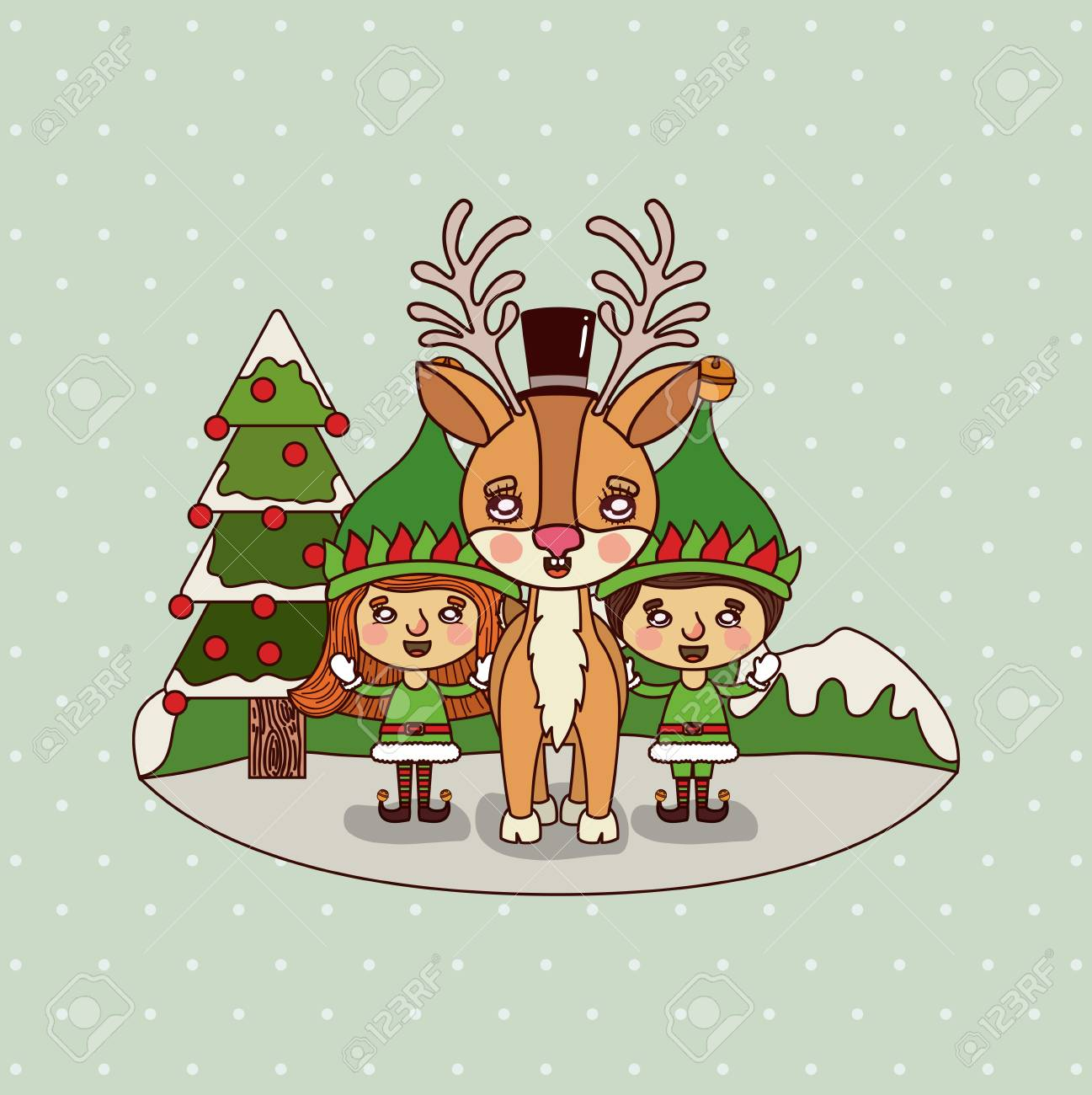 Colorful Christmas Background For Kids.Christmas Card With Christmas Tree And Gnome Kids And Reindeer
