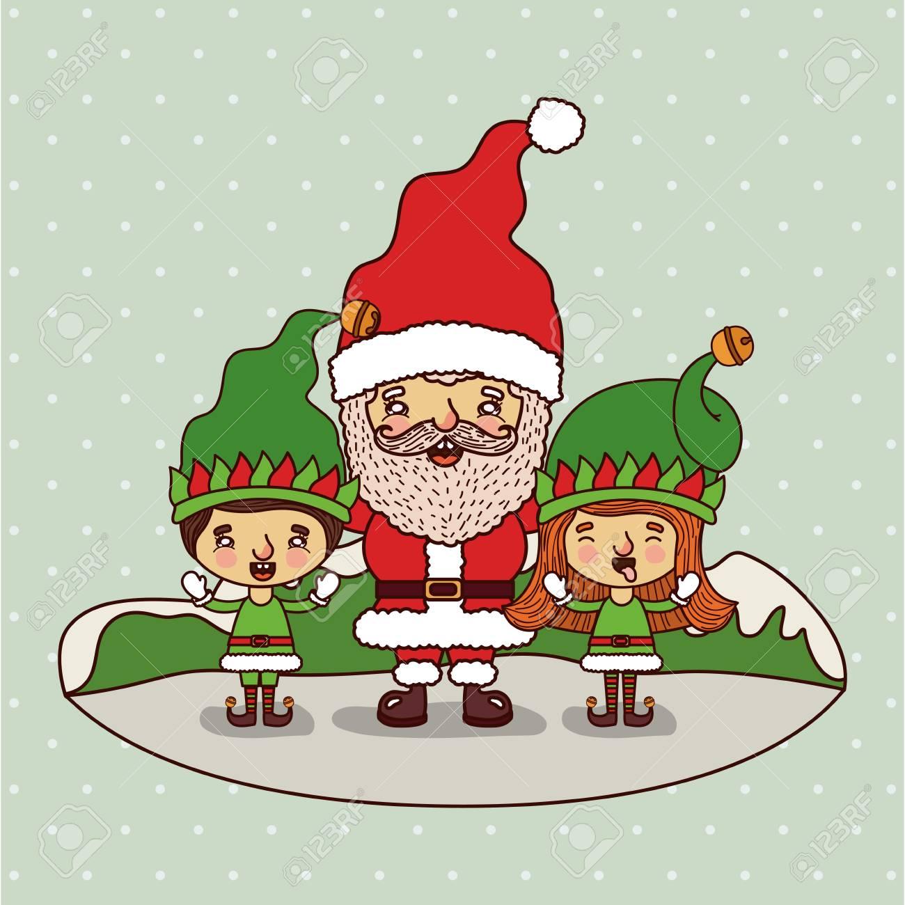 Carte De Noël Avec Père Noël Et Ses Lutins. Clip Art Libres De