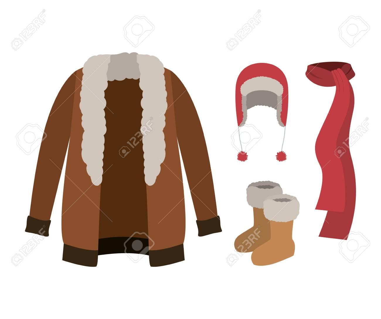毛皮のコート、マフラー、ウール帽子と白い背景の上のブーツと冬服