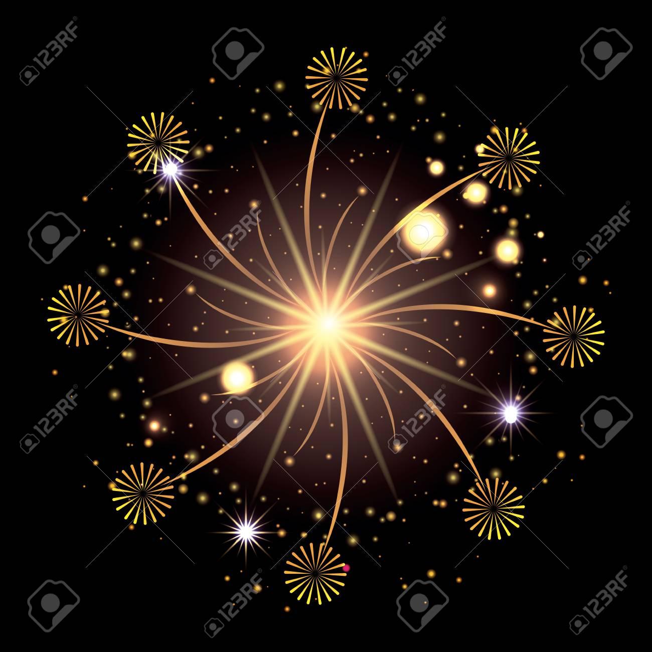 バーストの黄色と星空輝く花火が...