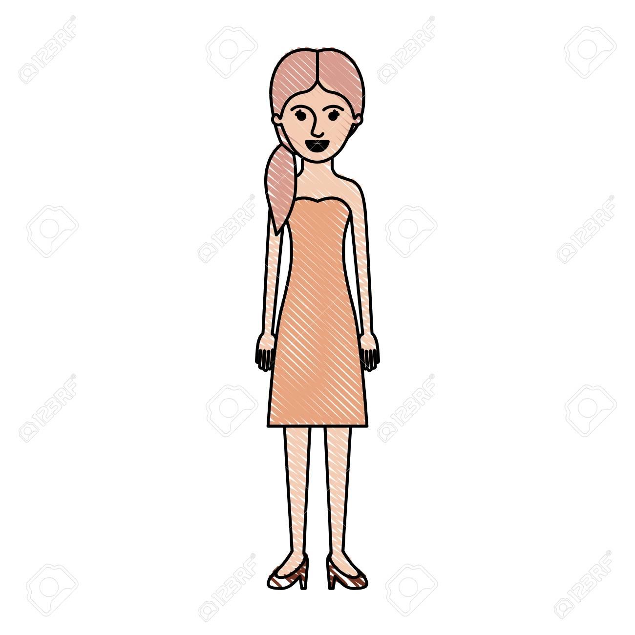 ピグテール髪型色クレヨン シルエット ベクトル図にストラッ プレス ドレスとヒール靴で女性