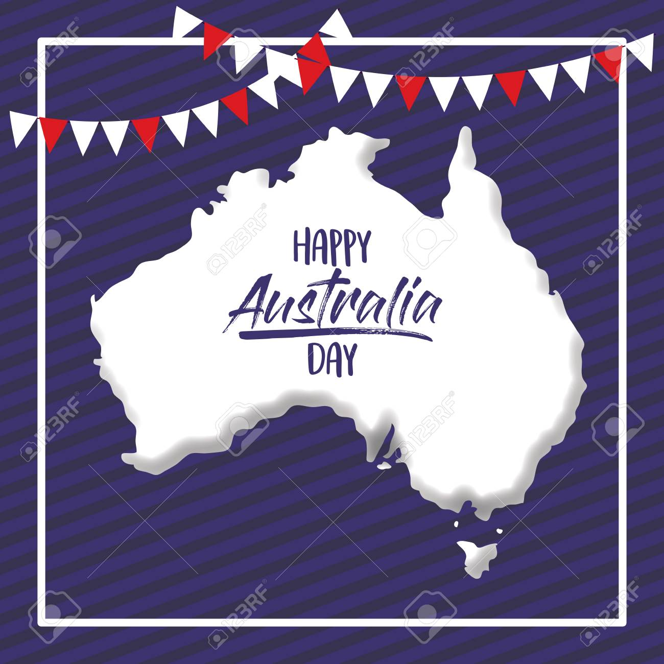 Happy Australia Day Poster With White Frame And Australian Map ...