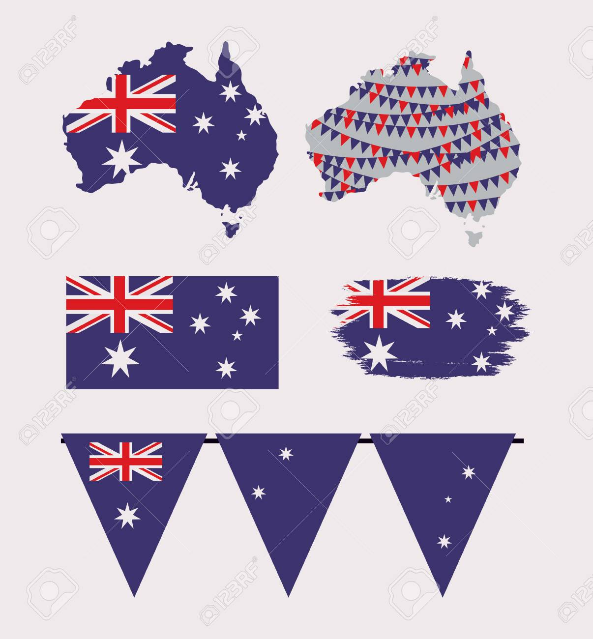 Australia Map And Flag.Icons Set Of Australia Day With Colorful Australian Maps Flags