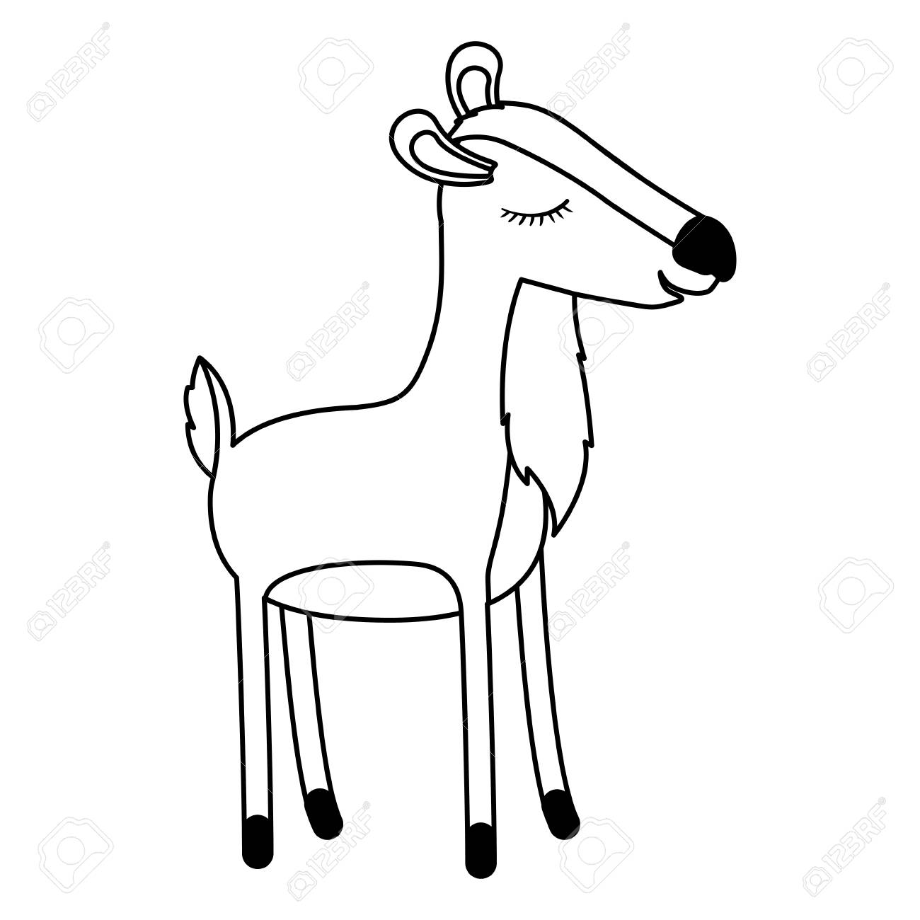 Female Deer Cartoon With Closed Eyes Expression In Monochrome