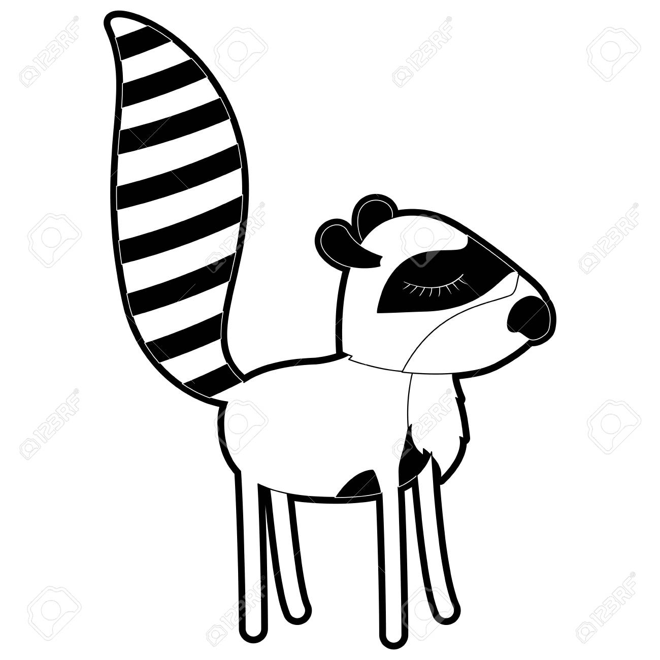 Female Raccoon Cartoon With Closed Eyes Expression In Black