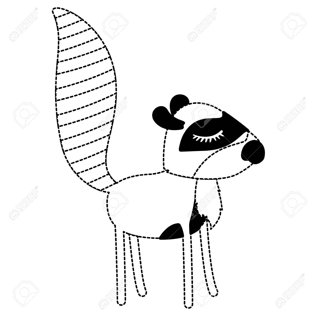 Female Raccoon Cartoon With Closed Eyes Expression In Black Dotted