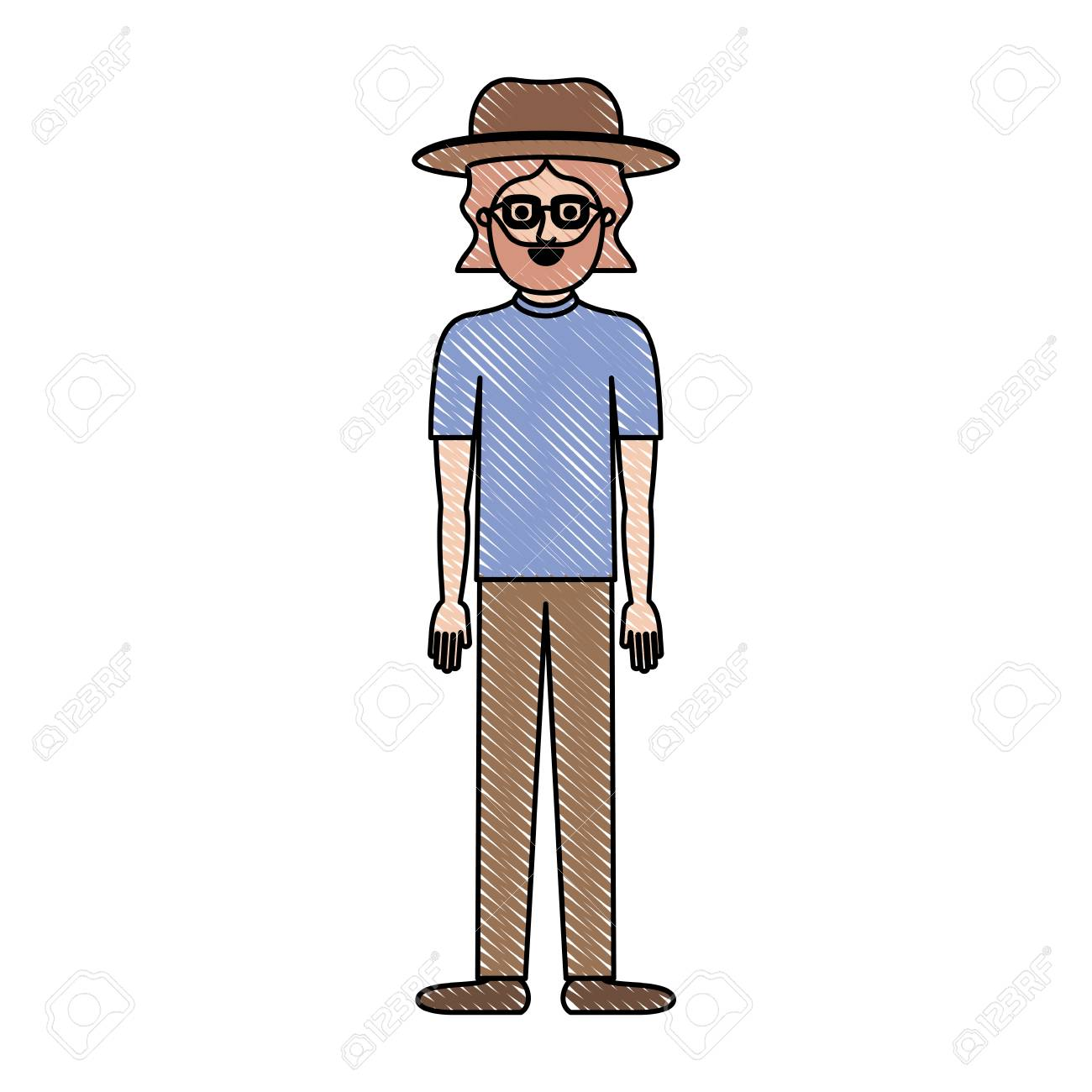 Man With Hat And Glasses And T Shirt And Pants And Shoes With Royalty Free Cliparts Vectors And Stock Illustration Image 92500402