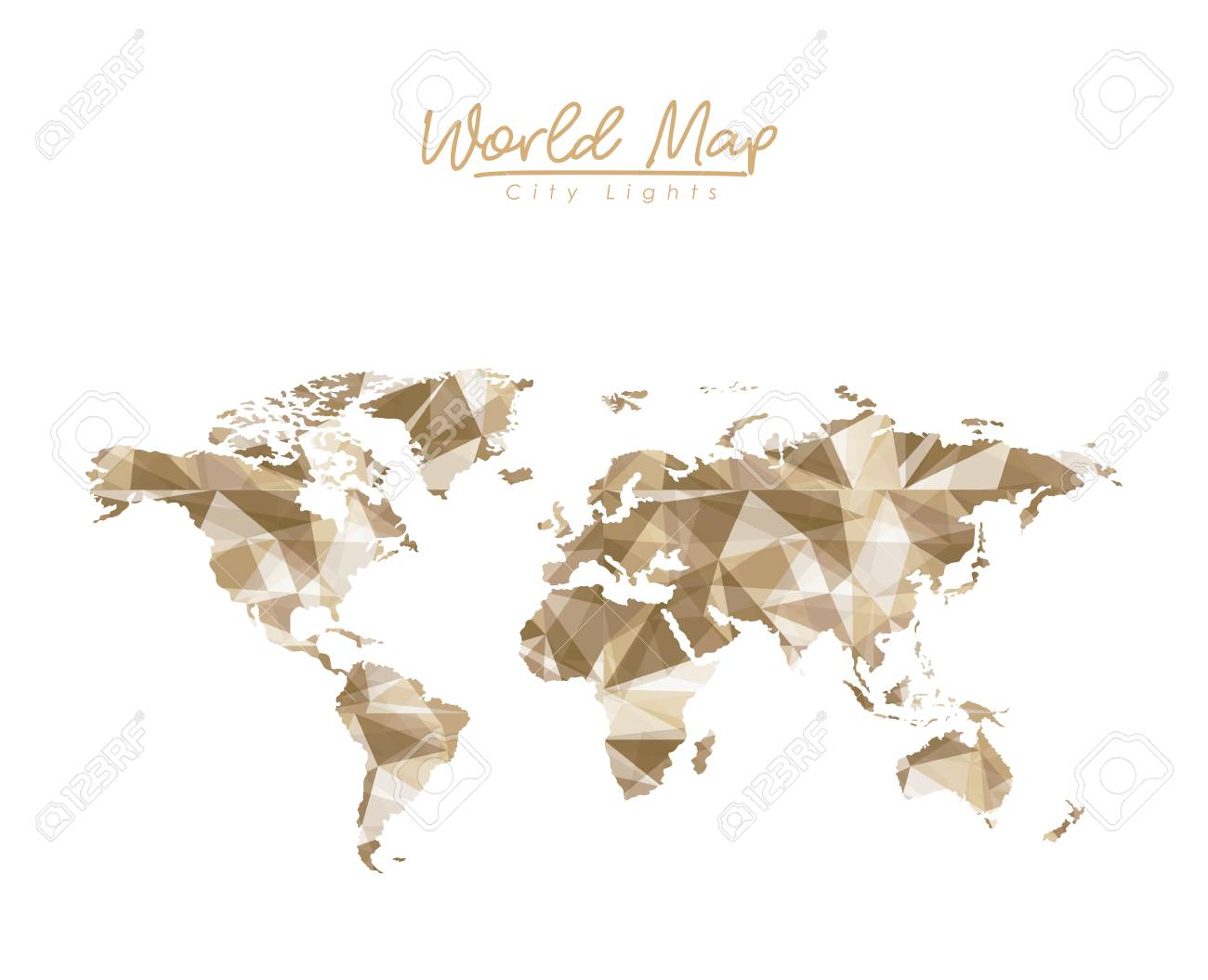 World map city lights in light brown polygon silhouette vector vector world map city lights in light brown polygon silhouette vector illustration gumiabroncs Choice Image