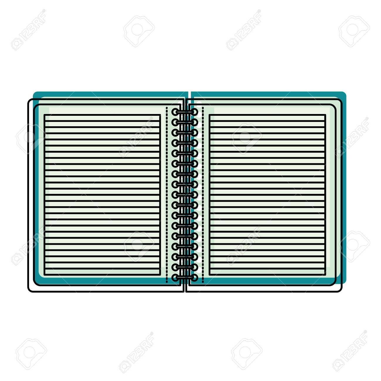 notebook lines school spiral paper sheet notepad vector illustration