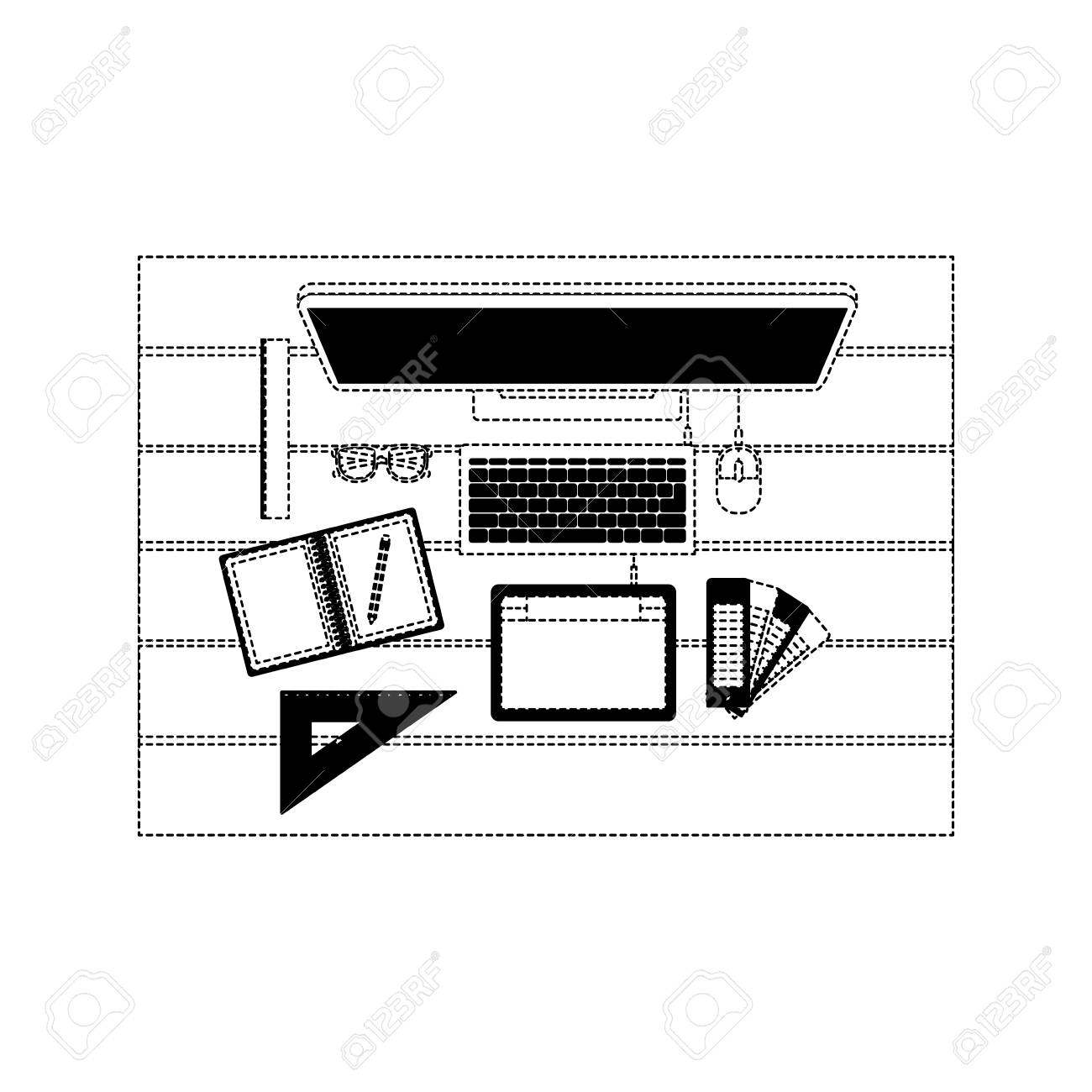 Free Office Desk Clipart Black And White, Download Free Clip Art, Free Clip  Art on Clipart Library