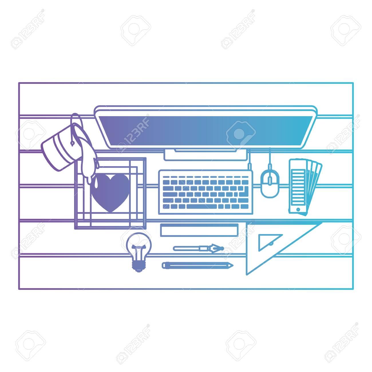 A Desktop Computer Draw Digitized Heart Ruler Creative Design