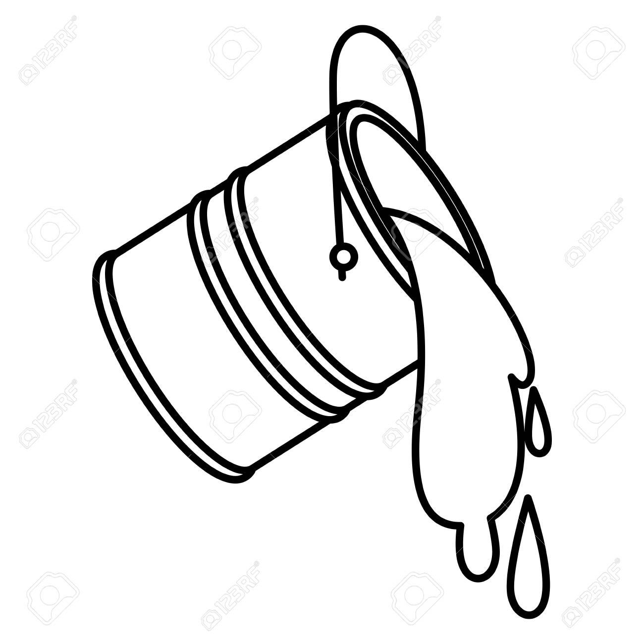 Paint Bucket Spilling Icon In Black Contour Vector Illustration Royalty Free Cliparts Vectors And Stock Illustration Image 94736461