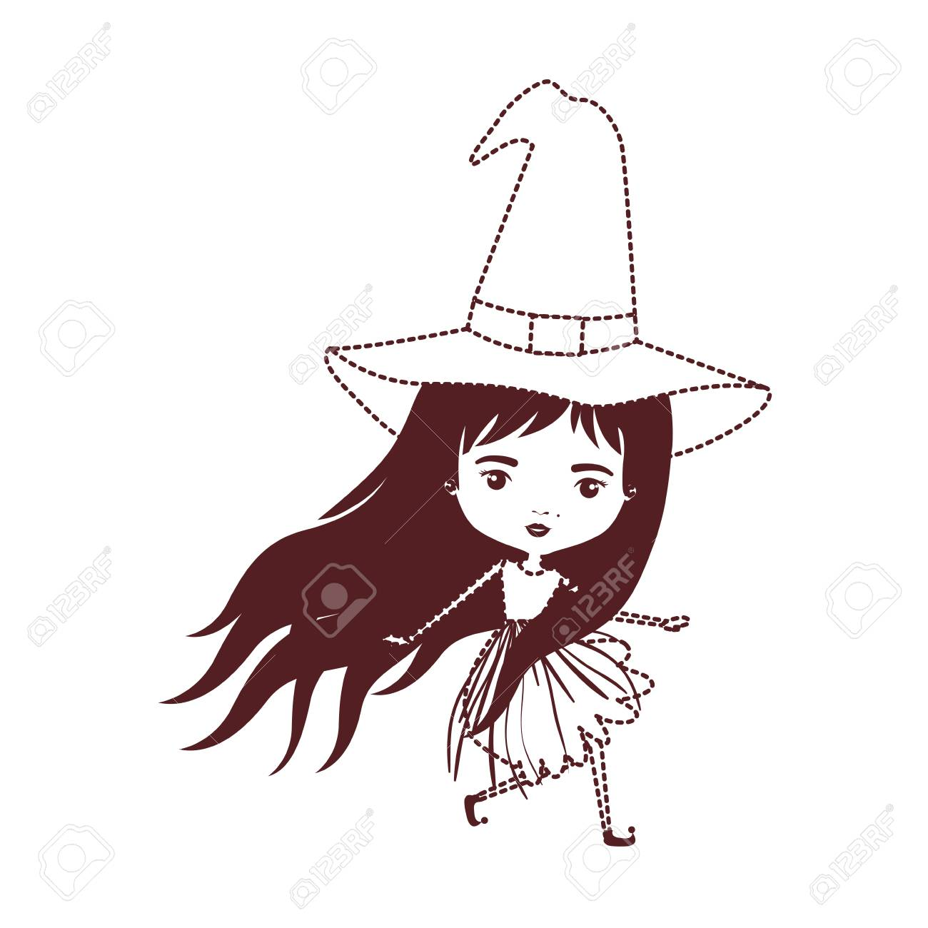 Cute Witch In Brown Dotted Silhouette Vector Illustration Royalty Free Cliparts Vectors And Stock Illustration Image 95003465