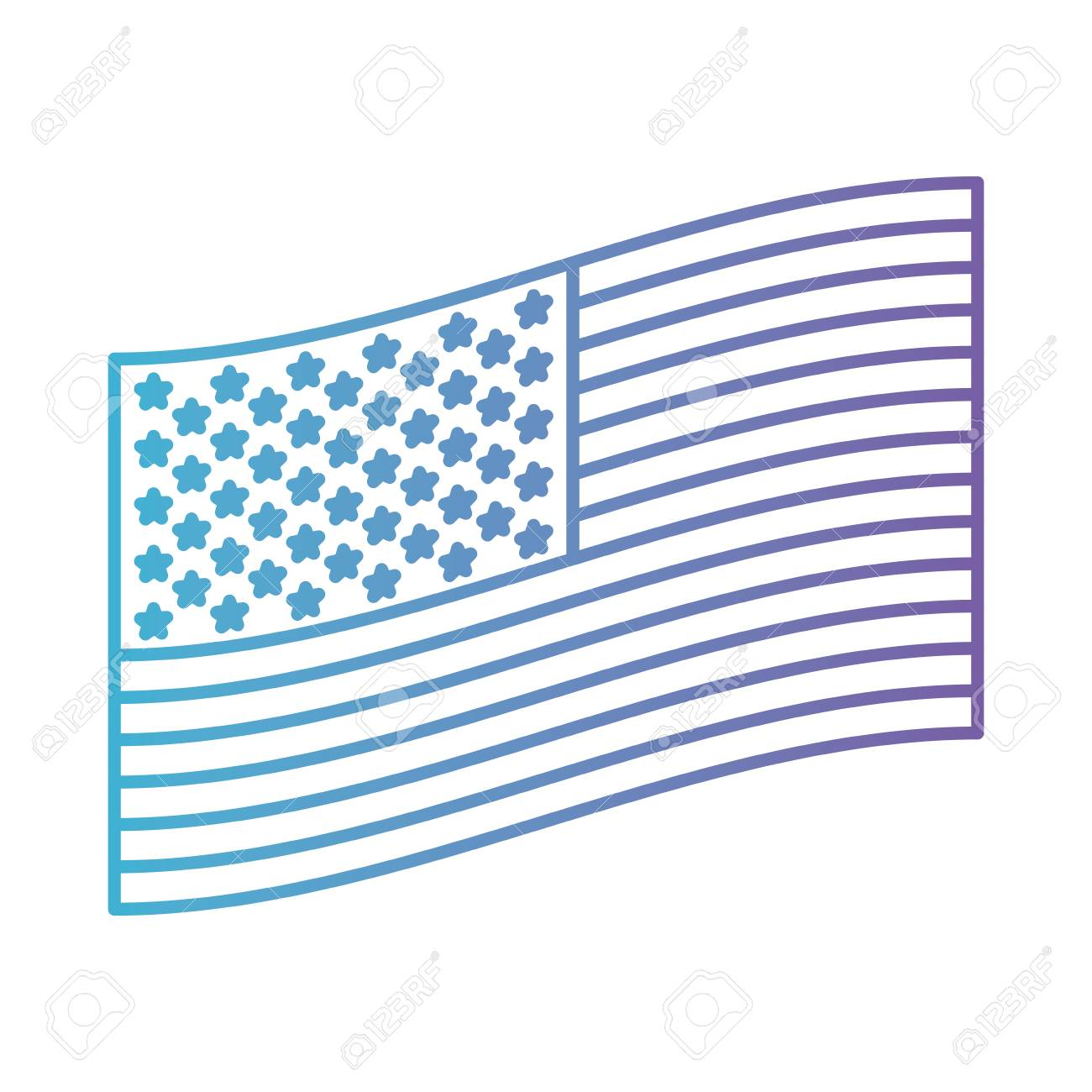 Flag United States Of America Flat Side Design In Color Gradient