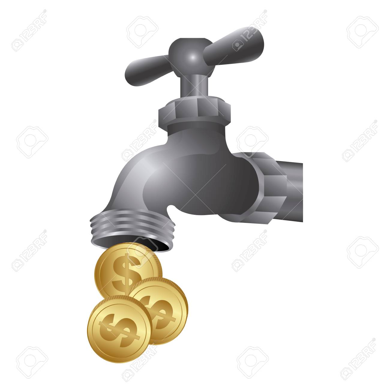 Faucet With Coins Save Water, Vector Illustration Design Royalty ...