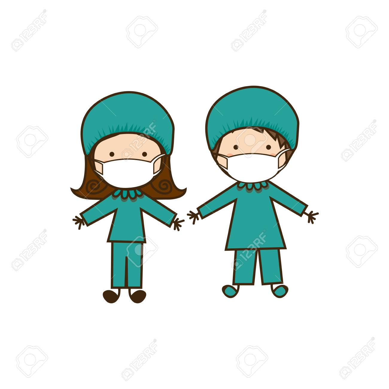 colorful caricature couple doctor costume - 103513935