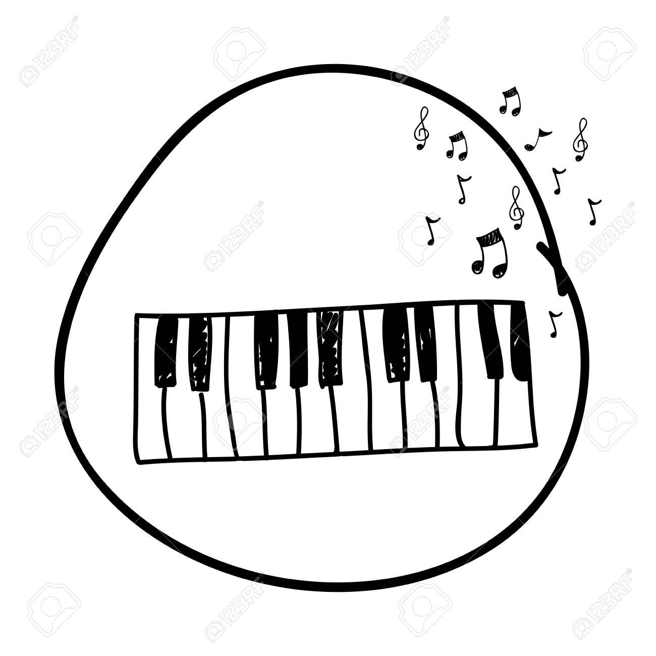 Monochrome Hand Drawing Of Piano Keyboard In Circle And Musical Royalty Free Cliparts Vectors And Stock Illustration Image 97498996 A wide variety of piano drawings options are available to you, such as usage, material, and plastic type. monochrome hand drawing of piano keyboard in circle and musical