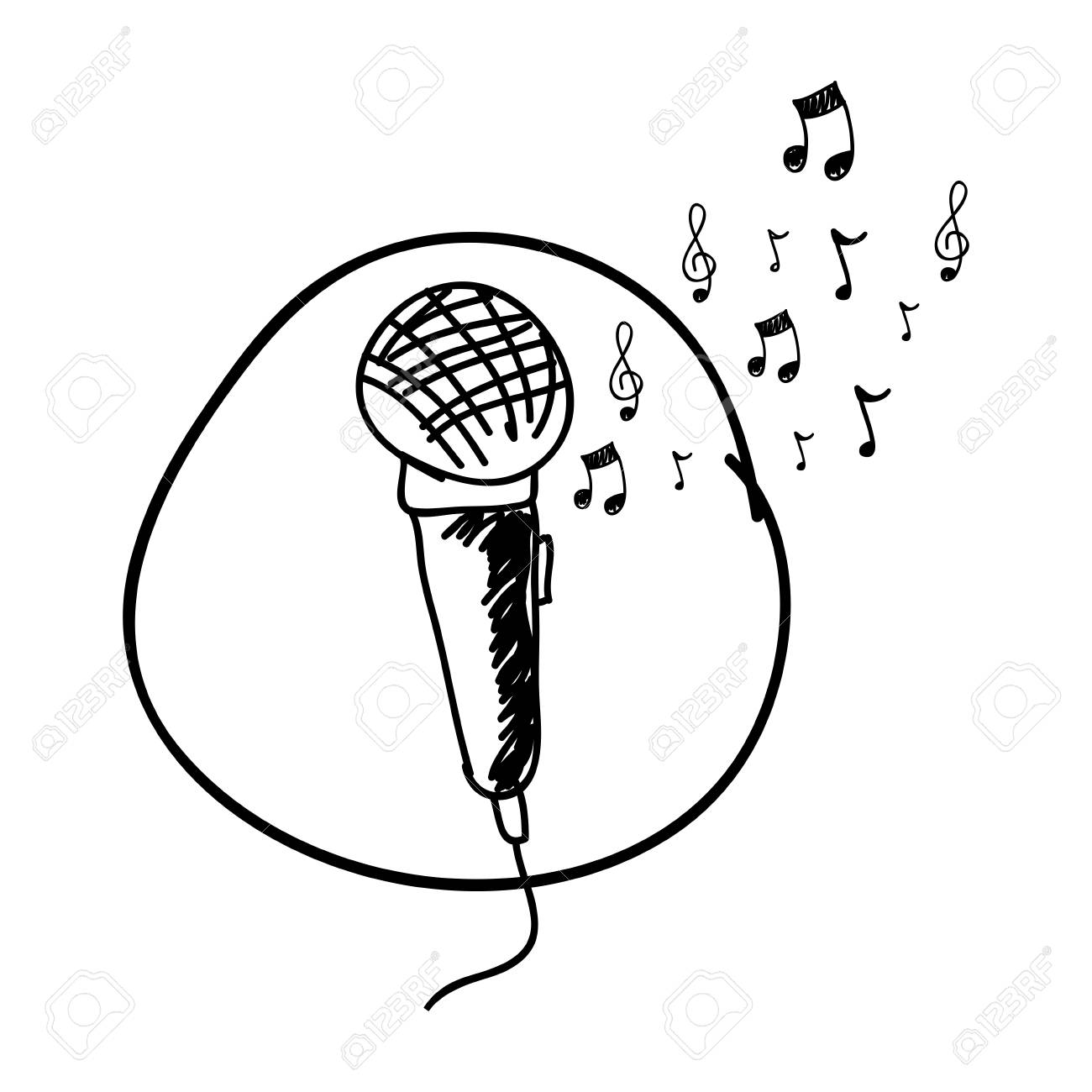 Monochrome Hand Drawing Of Microphone In Circle And Musical Notes