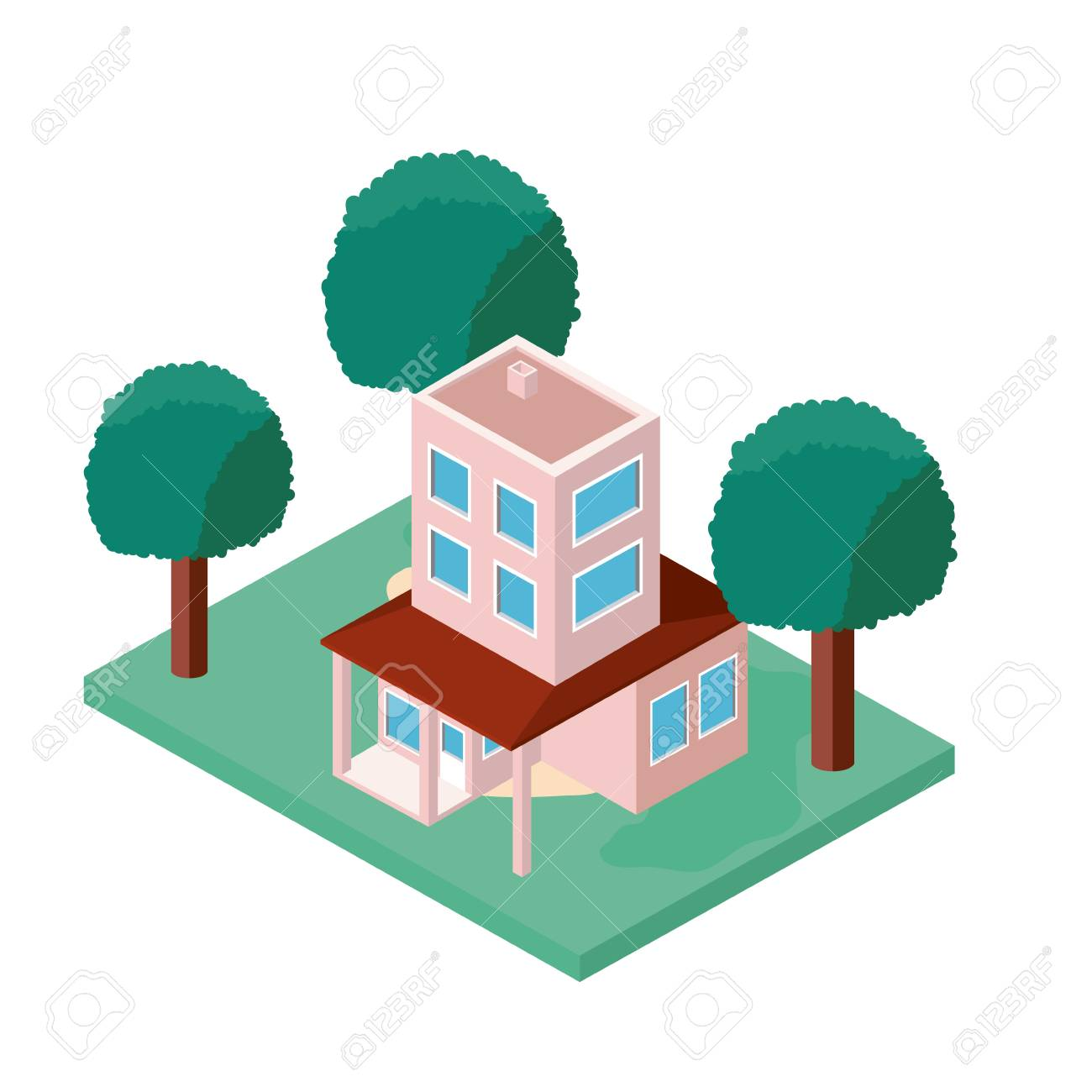 mini tree and house isometric vector illustration design royalty rh 123rf com